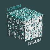 Logo isométrique abstrait de cube Illustration de vecteur Icône d'isolement Élément de conception Photographie stock libre de droits
