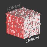 Logo isométrique abstrait de cube Illustration de vecteur Icône d'isolement Élément de conception Photographie stock