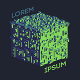Logo isométrique abstrait de cube Illustration de vecteur Icône d'isolement Élément de conception Images libres de droits