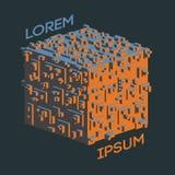 Logo isométrique abstrait de cube Illustration de vecteur Icône d'isolement Élément de conception Photos libres de droits