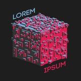 Logo isométrique abstrait de cube Illustration de vecteur Icône d'isolement Élément de conception Images stock