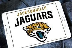 Jacksonville Jaguars american football team logo. Logo of Jacksonville Jaguars american football team on samsung tablet. The Jacksonville Jaguars are an American royalty free stock images