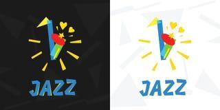 Logo of jazz music. Saxophone. Logo of jazz music. Saxophone in avant-garde style Royalty Free Stock Photo