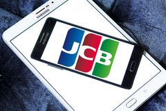 JCB credit card company logo. Logo of JCB credit card company on samsung mobile . JCB is accepted at JCB merchants, it also in a strategic alliance with Discover Royalty Free Stock Photo