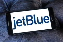 JetBlue Airways Corporation logo. Logo of JetBlue Airways Corporation on samsung mobile. jetBlue is an American airline headquartered in New York City Stock Image