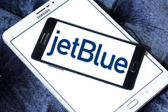 JetBlue Airways Corporation logo. Logo of JetBlue Airways Corporation on samsung mobile. jetBlue is an American airline headquartered in New York City Stock Photos