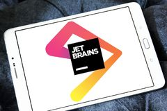JetBrains software development company logo. Logo of JetBrains company on samsung tablet. JetBrains is a software development company whose tools are targeted Stock Photos