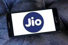 Jio , Reliance Jio Infocomm Limited logo. Logo of Jio telecommunication company on samsung mobile. Jio is an LTE mobile network operator in India. It is a wholly Stock Images