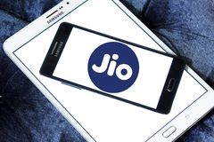Jio , Reliance Jio Infocomm Limited logo. Logo of Jio telecommunication company on samsung mobile. Jio is an LTE mobile network operator in India. It is a wholly Stock Photos