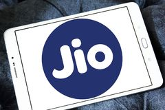 Jio , Reliance Jio Infocomm Limited logo. Logo of Jio telecommunication company on samsung tablet . Jio is an LTE mobile network operator in India. It is a Royalty Free Stock Images