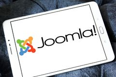 Joomla application logo. Logo of Joomla application on samsung tablet. Joomla! is a free and open-source content management system CMS for publishing web content stock image