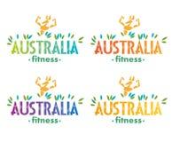 Logo. Kangaroo bodybuilder. Australia fitness. Variants of writing colors. Logo. Stylized image of athletic kangaroos. Training Australian fitness club Royalty Free Stock Photos