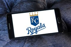 Kansas City Royals baseball team logo. Logo of Kansas City Royals team on samsung mobile. The Kansas City Royals are an American professional baseball team Stock Image