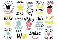 Logo 14 Kind s mit kleinem Jungen der Handschrift, es s ein Mädchen, hallo, Prinzessin, Lächeln, süßes Baby, hallo, Stern stock abbildung