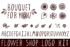 Logo kit for flower shops Royalty Free Stock Photos