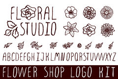 Logo kit for flower shops Royalty Free Stock Images
