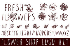 Logo kit for flower shops Stock Photo