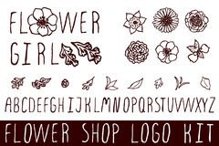 Logo kit for flower shops Stock Photos