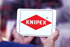 Knipex company logo. Logo of Knipex company on samsung tablet. Knipex is a German manufacturer of pliers for professional use Royalty Free Stock Photo