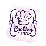 Logo kochend, entwerfen Sie mit Aquarelldekor - Restaurantemblem lizenzfreie abbildung