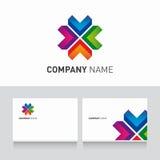 Logo kolorowy i wizytówka szablon   Obrazy Stock