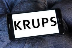 Krups Company logo. Logo of Krups Company on samsung mobile. Krups is a German kitchen appliance manufacturer. It is part of the Groupe SEB royalty free stock image