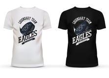Logo légendaire d'équipe de hockey d'université avec le galet sur le T-shirt illustration stock
