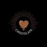 Logo, label, insigne ou emblème de chocolat avec le coeur Photo stock