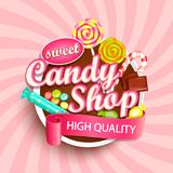 Logo, label ou emblème de boutique de sucrerie images stock