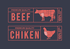 Logo for labelling of meat. Picture Animals Used for Food From the Meat Industry. Stock Photography