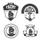 Logo, labels et insignes nautiques de vecteur de vintage illustration stock