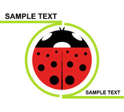 Logo Ladybird. Green profile containing a red and black ladybird Royalty Free Stock Images