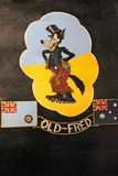 Logo on Lancaster bomber 'Old Fred' at Imperial War Museum, London, United Kingdom. The forward fuselage of the bomber, Avro Lancaster Mk.1 DV372 stock photos