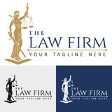 Logo law firm lady justice. Justice Goddess Themis, lady justice Femida. Stylized contour vector. Blind woman holding scales and sword. Symbol of justice, law Royalty Free Stock Photography