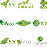 Logo, Leaf, Natural, Eco, Bio. Collection logos, leaves in green, Natural logos, eco and organic logos Stock Photography