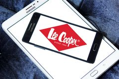 Lee Cooper clothing company logo. Logo of Lee Cooper brand on samsung mobile. Lee Cooper Brand is an English clothing company, operating worldwide, that licenses royalty free stock photos