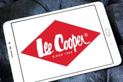 Lee Cooper clothing company logo. Logo of Lee Cooper brand on samsung tablet. Lee Cooper Brand is an English clothing company, operating worldwide, that licenses royalty free stock photography