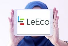 LeEco corporation logo. Logo of LeEco corporation on samsung tablet holded by arab muslim woman. LeEco is a Chinese multinational conglomerate corporation. The Stock Image