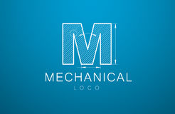 Logo letter M  in the style of a technical drawing. Logo template letter M  in the style of a technical drawing. sign design and the text `mechanical` with Stock Images