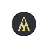 Logo for letter A and M. Stylish illustration of letter A and M that can be used for a logo or as isolated graphic element Royalty Free Stock Photos