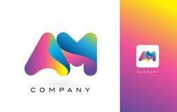 AM Logo Letter With Rainbow Vibrant Mooie Kleuren Kleurrijk t Stock Afbeeldingen