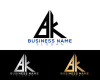 Logo Letters. Bf Logo Letters with Gold and Black Colors and Swoosh Stock Image