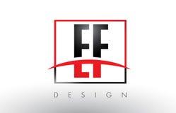 Logo Letters E-F E-F avec des couleurs et le bruissement rouges et noirs Images libres de droits