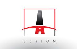A Logo Letters with Red and Black Colors and Swoosh. Royalty Free Stock Photo