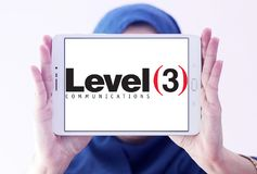 Level 3 Communications company logo. Logo of Level 3 Communications company on samsung tablet holded by arab muslim woman. Level 3 Communications is an American Stock Images
