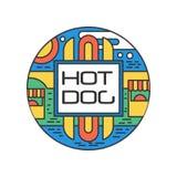 Logo linéaire coloré avec le hot-dog Autocollant en forme ronde abstrait pour le festival de nourriture Concept de la consommatio Image stock