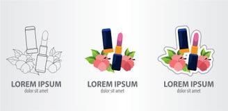Logo lipstick. Contour logo, stroke logo Vector illustrtation Royalty Free Stock Images