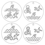 Logo and locket triathlon. Linear figure triathletes. Vector symbol swimming, cycling and running. Sport label and badge Stock Photo