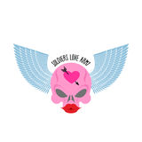 Logo, logo of soldier of love. Pink skull with large red lips an royalty free illustration