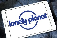 Lonely Planet logo. Logo of Lonely Planet on samsung tablet. Lonely Planet is the largest travel guide book publisher in the world royalty free stock images
